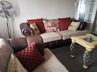 SCS CHESTERFIELD LEATHER & FABRIC SOFA