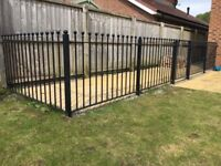 Galvanised Steel Railings & Gate. Fence Length 9m x Height 950mm. Powder Coated in Black