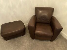 Leather 2 seat sofa with matching armchair and footstool