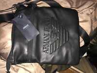 Armani jeans black leather pouch
