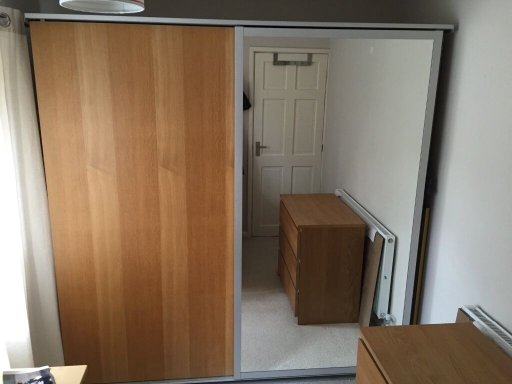 ikea sliding door double wardrobe oak and mirror doors malm pax in gedling. Black Bedroom Furniture Sets. Home Design Ideas