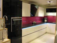 Pink Glass Kitchen Splashback x 2 sections (3600 x 540) & (2100 x 540mm)