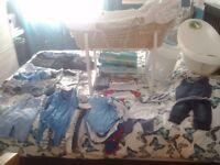 baby items various, Mamas & Papas Moses Basket, bouncer, baby bath, baby clothes for a boy