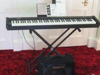 Korg SP-100 Digital Piano & KC-150 4-Ch Mixing Keyboard Amplifier