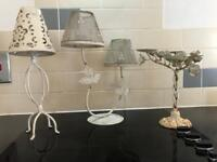 Vintage candle holders and a pair of candleabra