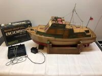 Vintage hand built radio controlled fishing boat Rosanne with Twin metal prop and rudder