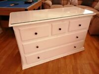 Large 5 drawer solid oak chest of drawers