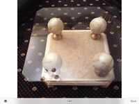 Alighi Bianchi Glass Occasional Table with 4 Marble Globes.
