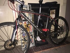 Carrera subway mountain bike in black and red with disc brakes