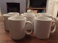 8 White Mugs