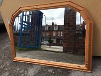 Large Pine Mirror - Large Pine Over Mantle Mirror - Good Condition - Reduced