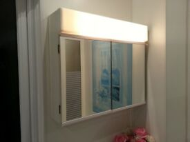 Metlex Bathroom Cabinet with integrated pull-cord lighting. Nice clean condition. Rhiwbina area.
