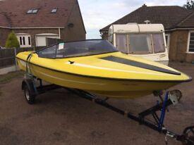 speedboat fletcher with trailer no engine