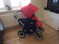 Beautiful Pram - Bugaboo Donkey Duo Red Pushchair Double Seat Stroller / Extras