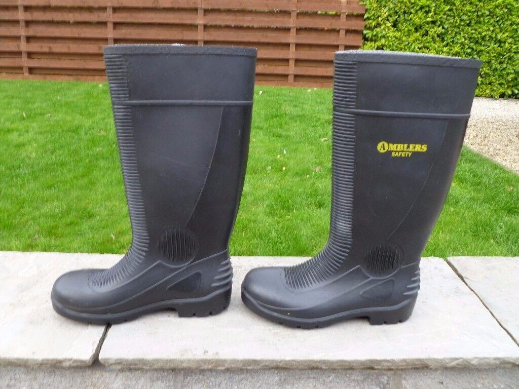 Black safety steel toe cap wellies size 5 (EU 38)