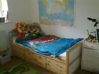 Single Kids Adult Wooden Storage Bed