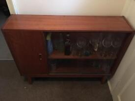 retro teak drinks cabinet, with glass sliding door