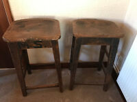 Victorian Office Stools, high solid oak, dark brown