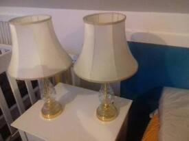 Pair of matching crystal lamps