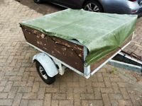 Galvanised Camping Box trailer 4'6 x 3'6. Recent tyres and bearings, German manuf. Sturdy but light.
