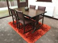 Solid Wood Dining Table 4 Leather Studded Chairs