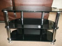 Glass TV Stand, black and chrome, Good Condition