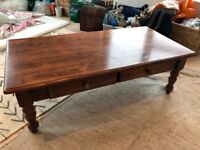 Wooden coffee table with 2 drawers