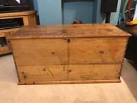 Victorian antique old pine chest box