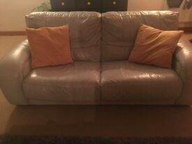 3 seater grey leather DFS Sofa