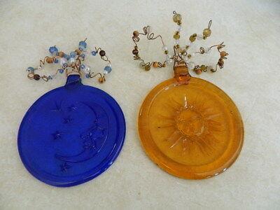 (Embossed Blue & Amber Glass Circle Moon Stars & Sun Astrology Celestial Decor)