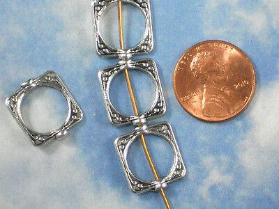 BuLK 50 Bead Frames Square Silver Tone Lightweight earrings #P278 -50
