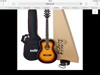 Indie Electro Acoustic guitar Brand New slight damage with padded case, strap & pick guard- boxed
