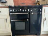 Rangemaster Classic black and chrome cooker and hood