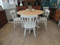 Shabby chic farmhouse dining table with 4 chairs