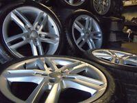"18"" genuine S LINE split alloys wheels audi a4 b8 a6 a5 a8 a3 5x112 golf vw caddy t4 t3"