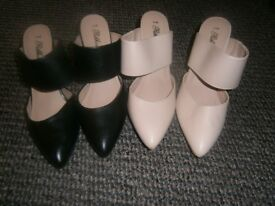 2 pairs brand new (never worn) heeled strap-over shoes. Size 5. 1 black, 1 beige. £5.00 per pair