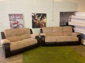 JOHN LEWIS DESIGNER FABRIC + LEATHER RECLINERS 3+2 SEAT SOFA SET VERY NICE COMFY
