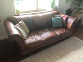 Scroll Arm Leather 3 Seater Sofa