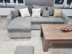 MALAGA Brand New Corner Sofa Bed > 2x storage for bedding > Bed > White / Grey > Black / Grey >