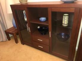 Sideboard and display cabinet with drawers for Dining room our living room dark wood great condition