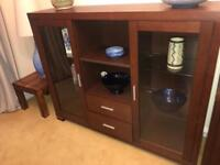 Dining room sideboard, display cabinet and dining table (no chairs)