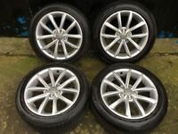 17'' GENUINE AUDI TT MK2 ALLOY WHEELS TYRES ALLOYS A6 5x112
