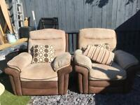 X2 reclining armchairs suede and cordaroy