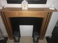 Fire surround with marble back and fire