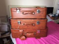 Vintage Leather Suitcase Luggage Case Travel Set Of 3 Bag Tan/Brown
