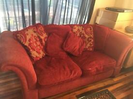 Pair Of Large Red Sofas. Used.