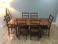 Extendable Solid Oak Dining Room Table and 6 Chairs