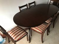 Extending family dining table & 6 chairs