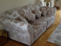 Gorgeous Three and Two Seater Settees with Footstool