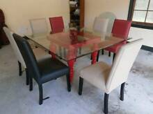 Bella Art Dining Table, Glass top with bright red 4 leg section Mackenzie Brisbane South East Preview